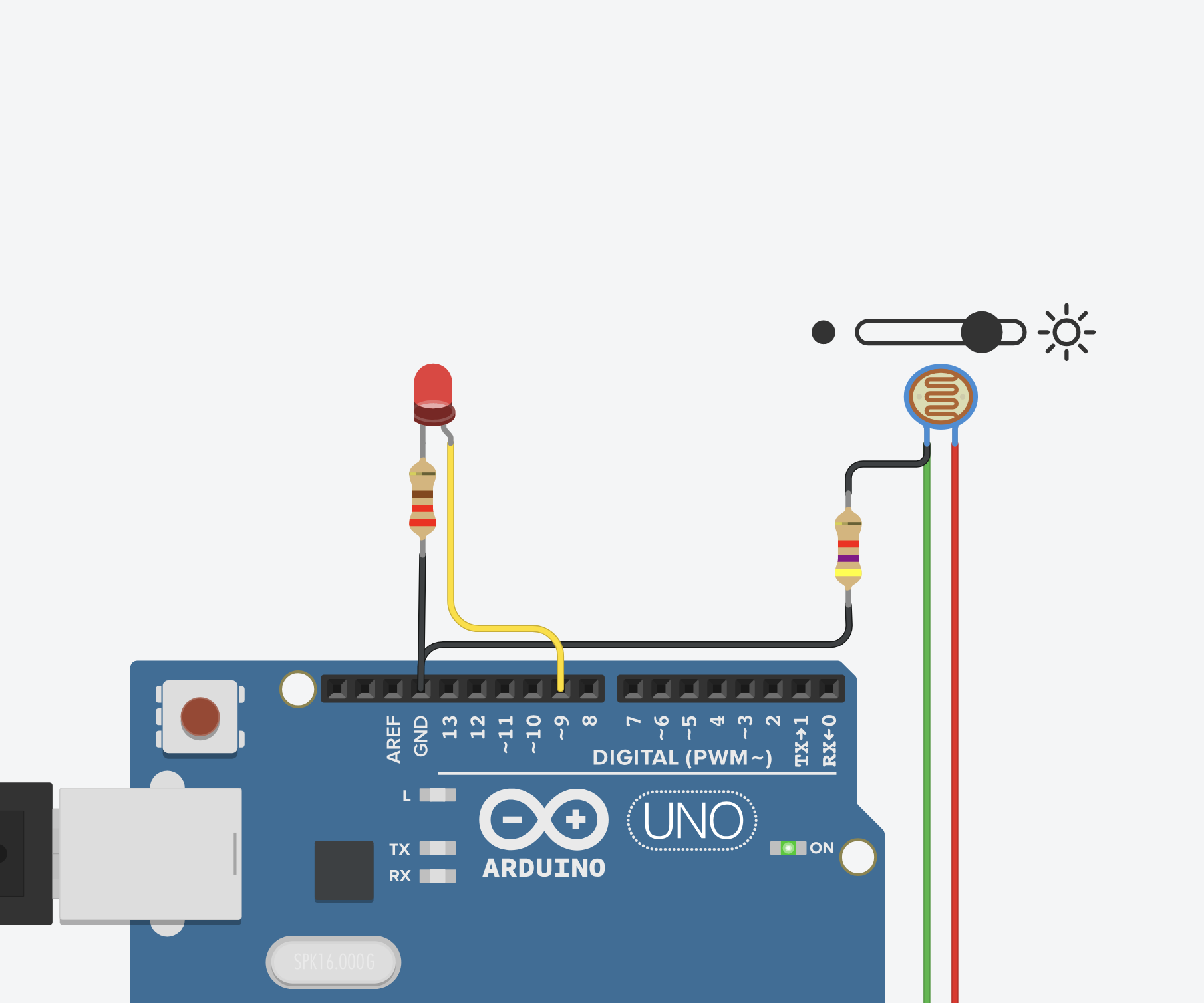 light sensor photoresistor with arduino in tinkercad 5 steps