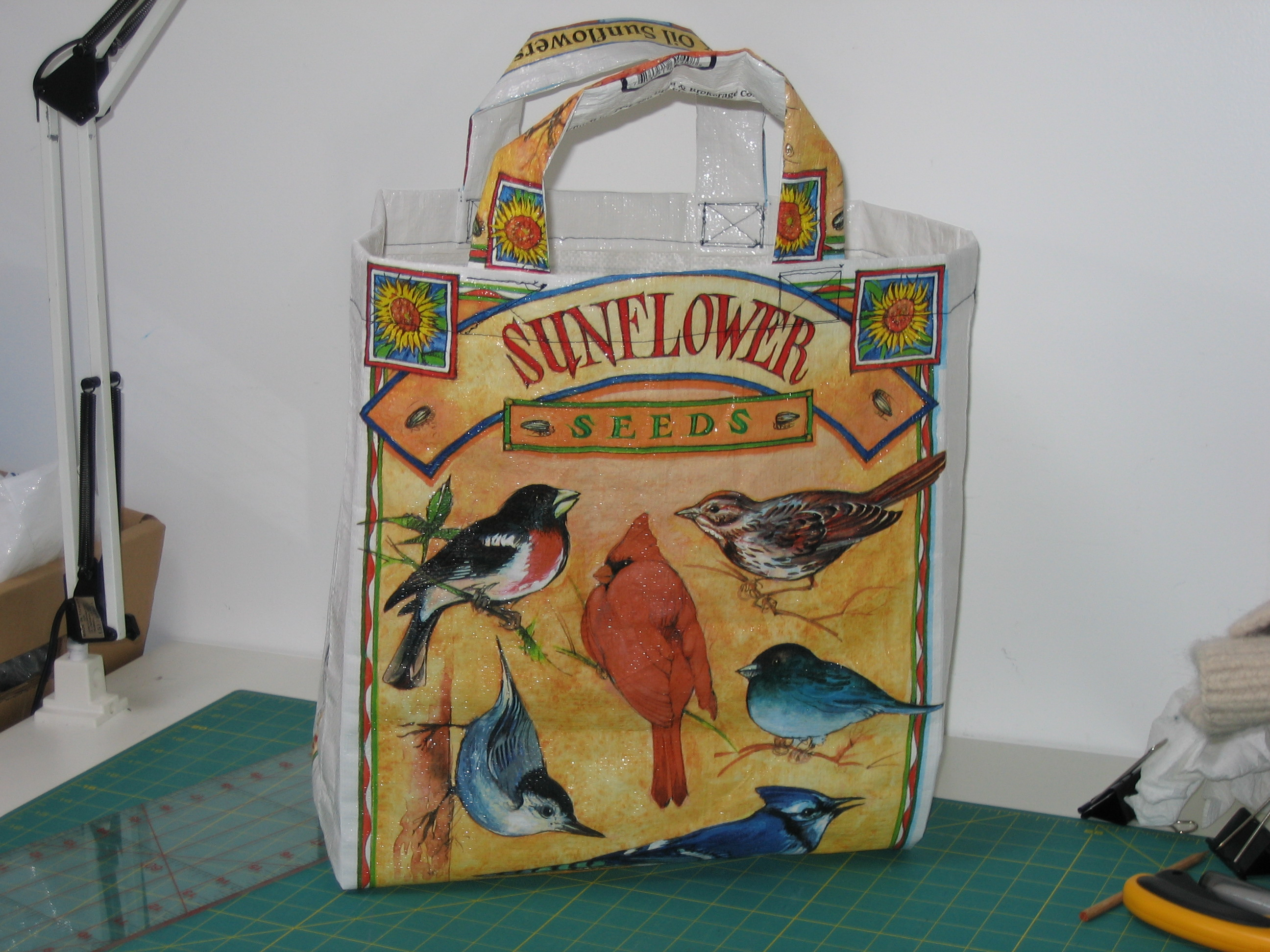 Picture of Grocery Tote Bag Made Out of 40lb Birdseed Sack