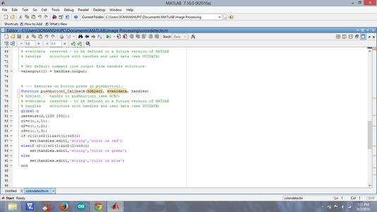 Coding Under Callback of Pushbutton1