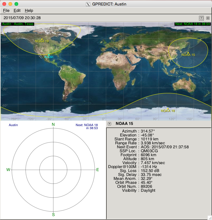 Picture of GPredict - Finding the Satellites