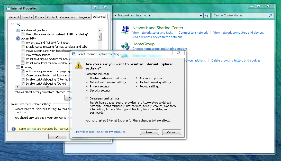 Picture of To Complete the Reset of Internet Explorer...