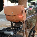 Leather saddle bag with built in light