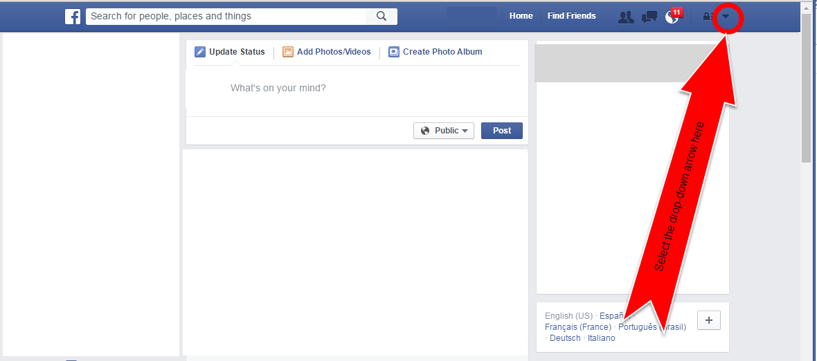 Picture of Locate and Select the Facebook Management Menu