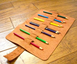 Roll Up Leather Pencil Case