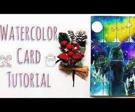 DIY Watercolor Christmas Card Tutorial / Kid & Cat Wait Santa Claus