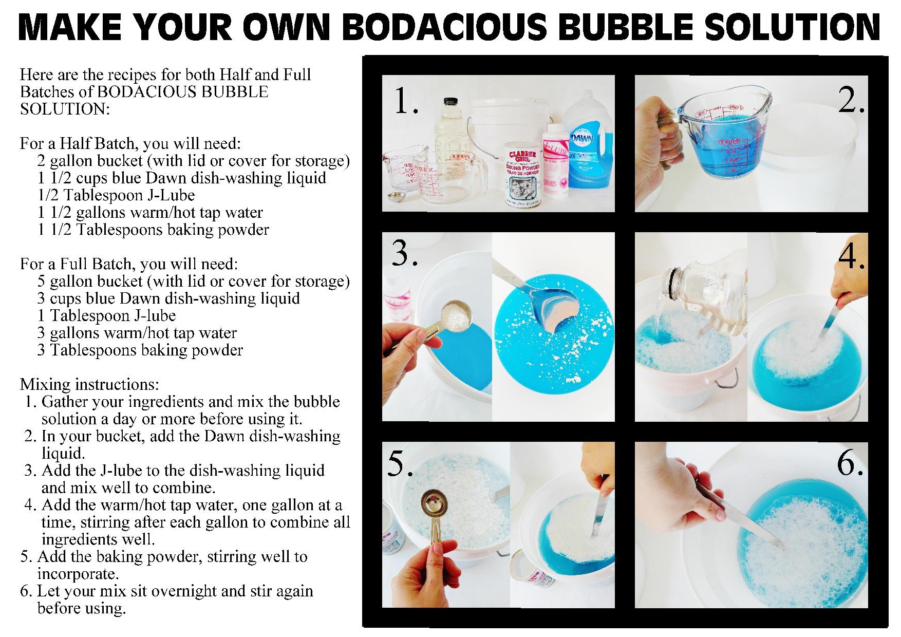 Picture of Making Your BODACIOUS BUBBLE SOLUTION - Mix the Day Before Using for Best Results