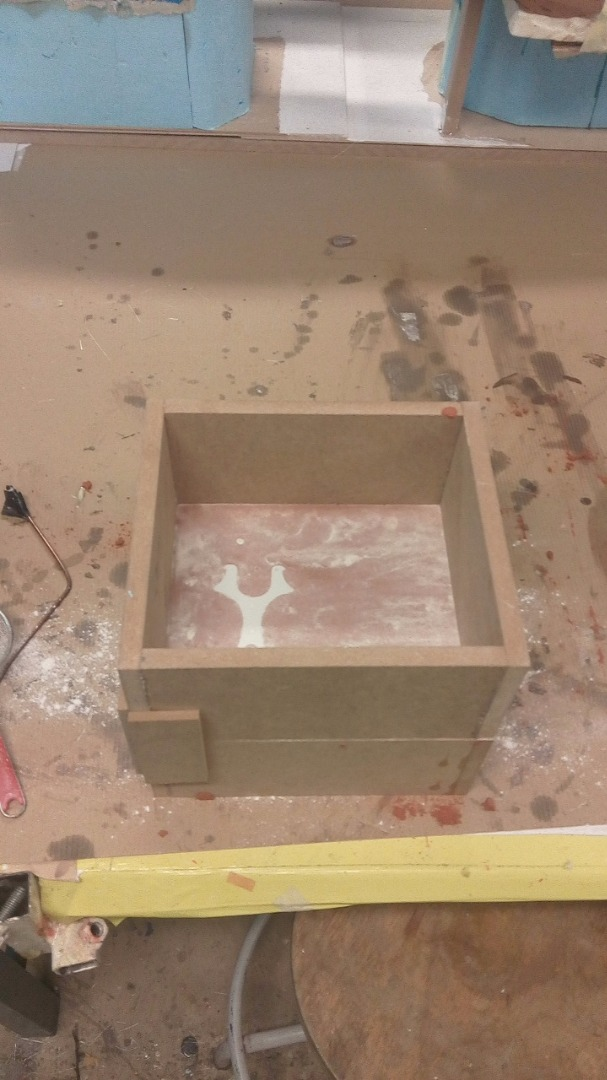 Picture of Pouring the Second Casting Box on Top of the First