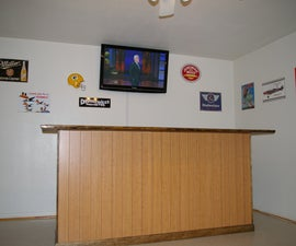 Home built bar with mini fridge