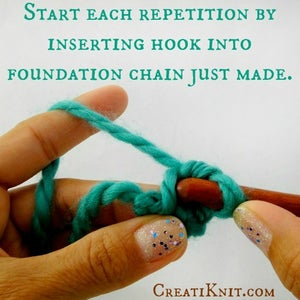 Continue Working, Starting Each Repetition by Inserting Your Hook Into the Foundation Chain Just Made Previously.