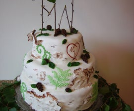 DIY birch-style wedding cake