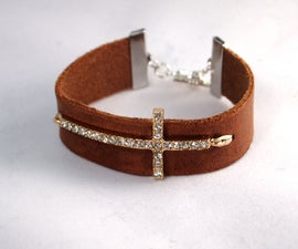 Simple Leather Bracelet With Cross