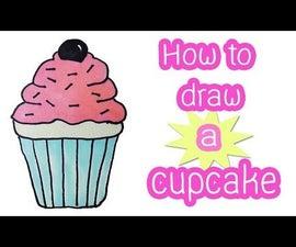 How to draw a cute cupcake cartoon!