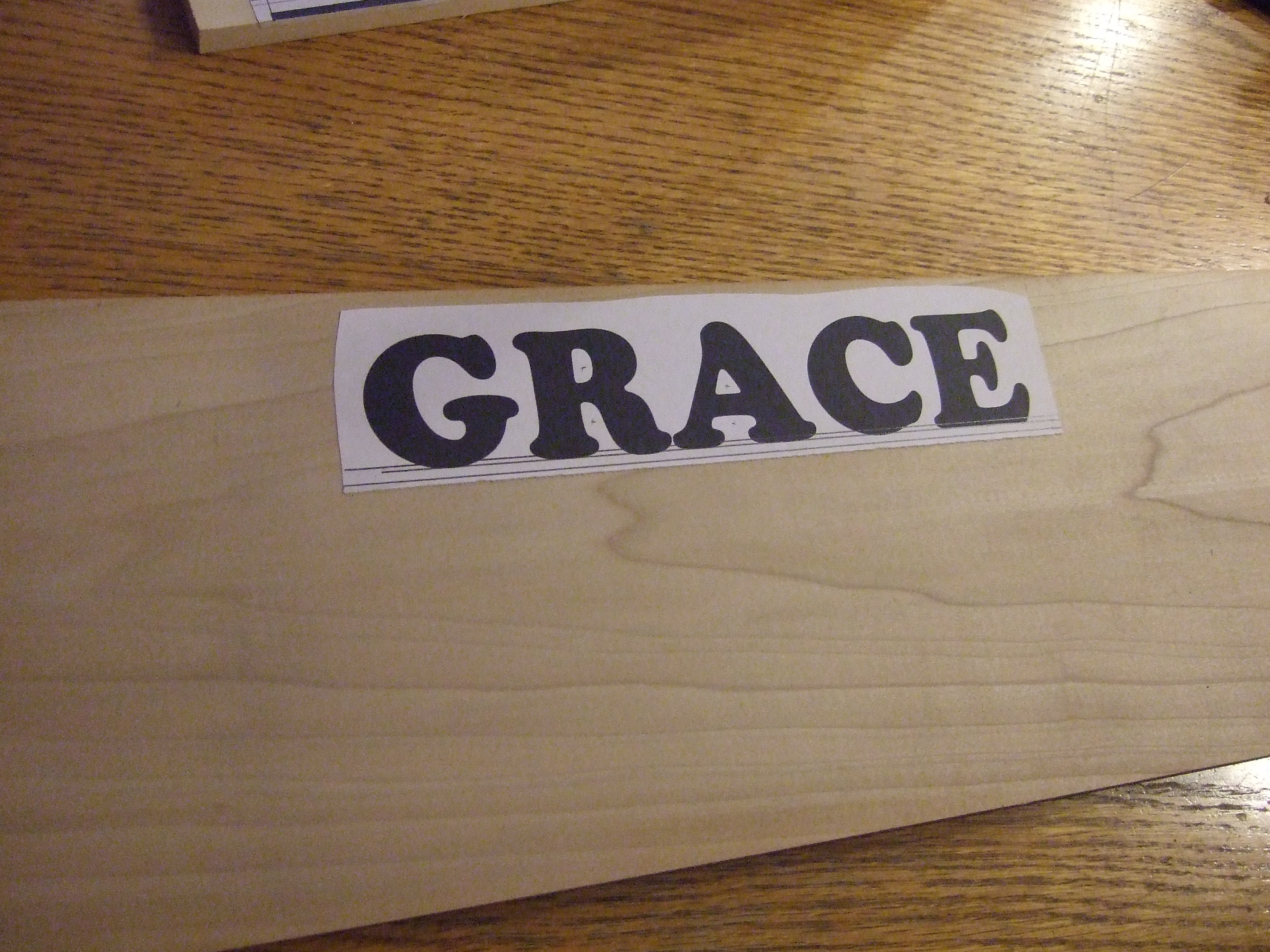 Picture of Applying the Name to the Wood