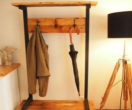 Industrial Coat Rack Bench (Hall Tree)