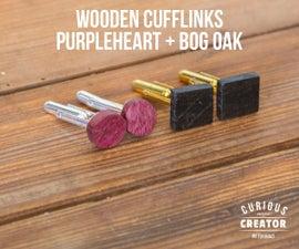 Wooden Cufflinks With Purpleheart + Bog Oak