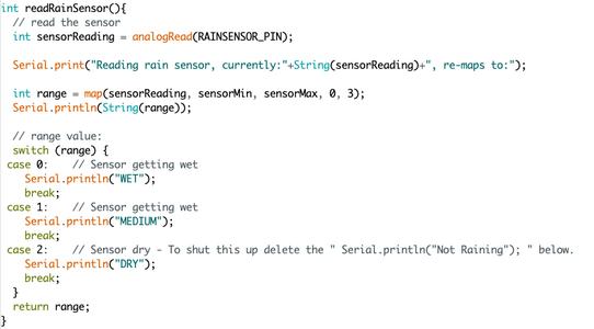 Reading the Rain Sensor