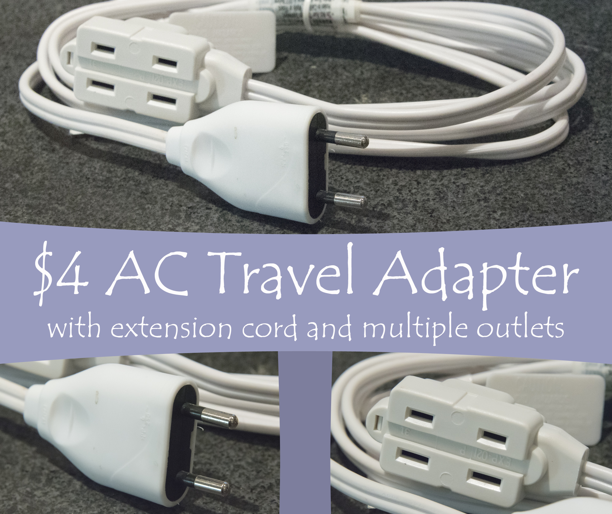 Picture of $4 AC Travel Adapter Extension Cord