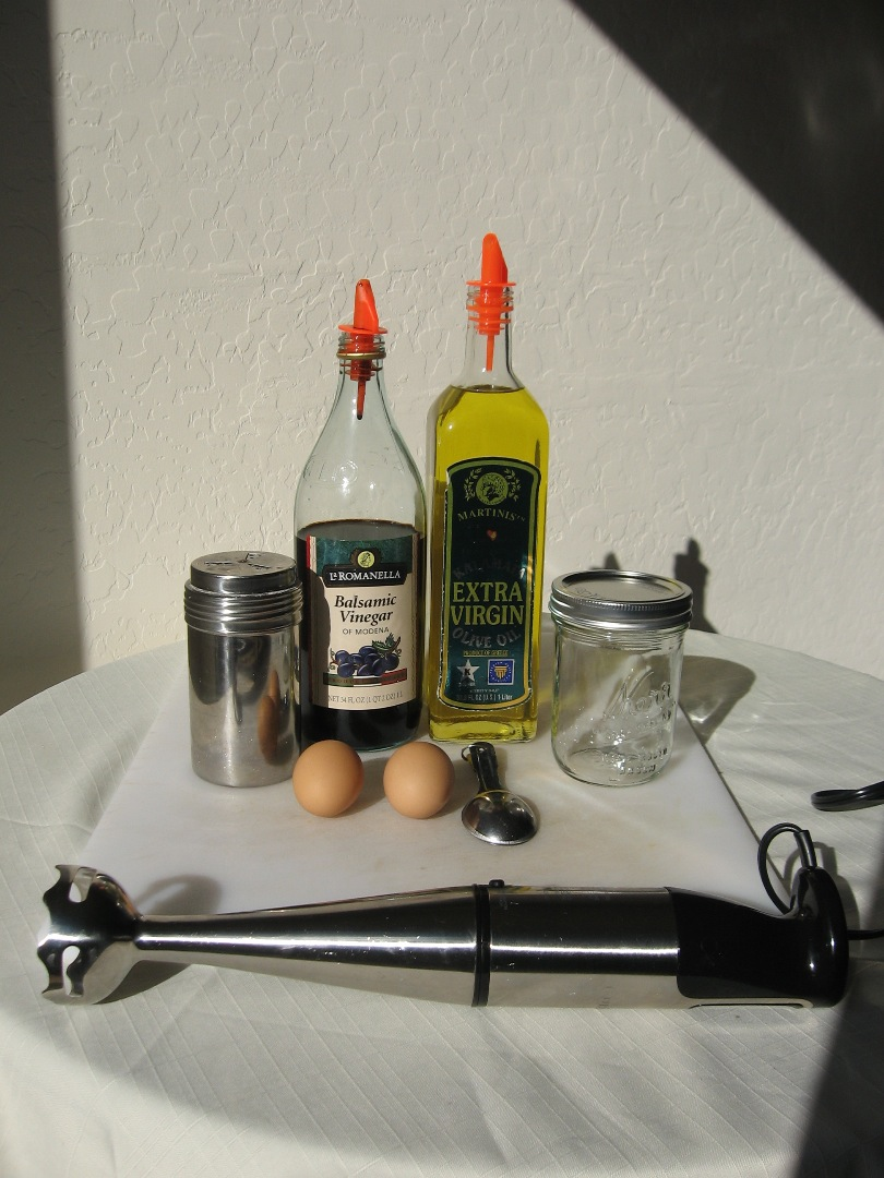 Picture of Fast Mayonnaise in a Jar From Olive Oil and Balsamic Vinegar