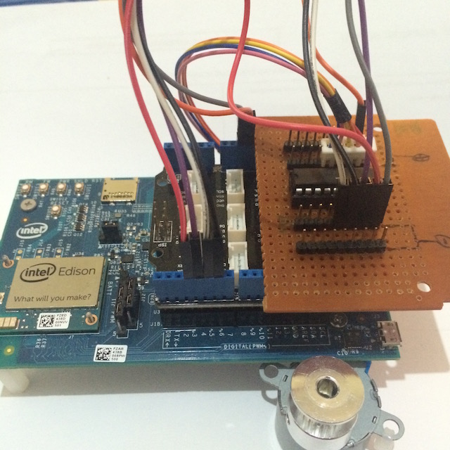 Picture of Assemble ULN, Stepper Motor, and Intel Edison