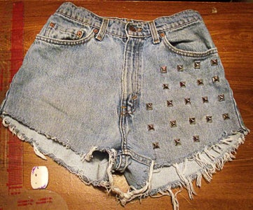 Studded Denim Shorts DIY