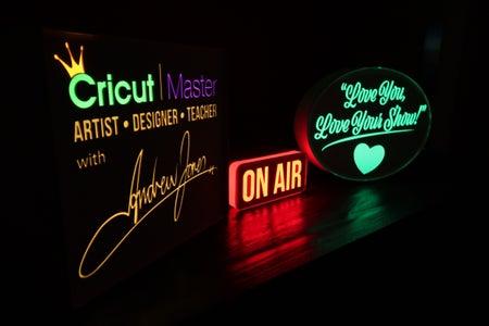 "Repurposed Christmas Tree Lighting, Neon (Illuminated) Paper ""On Air"" Light Box"