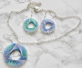 String Art Earrings and Necklace