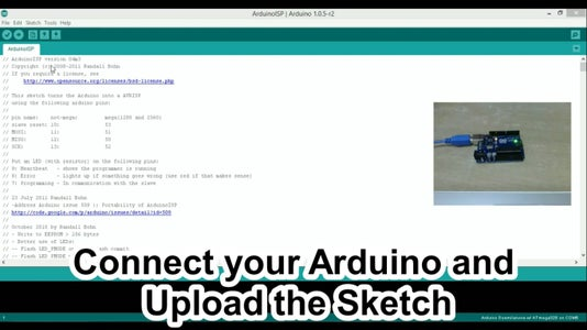 Upload the ArduinoISP Sketch