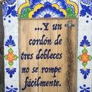 Wedding Braid Talavera Frame From an Antique Door