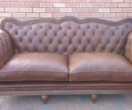 DIY Chesterfield Couch With Wooden Inlays