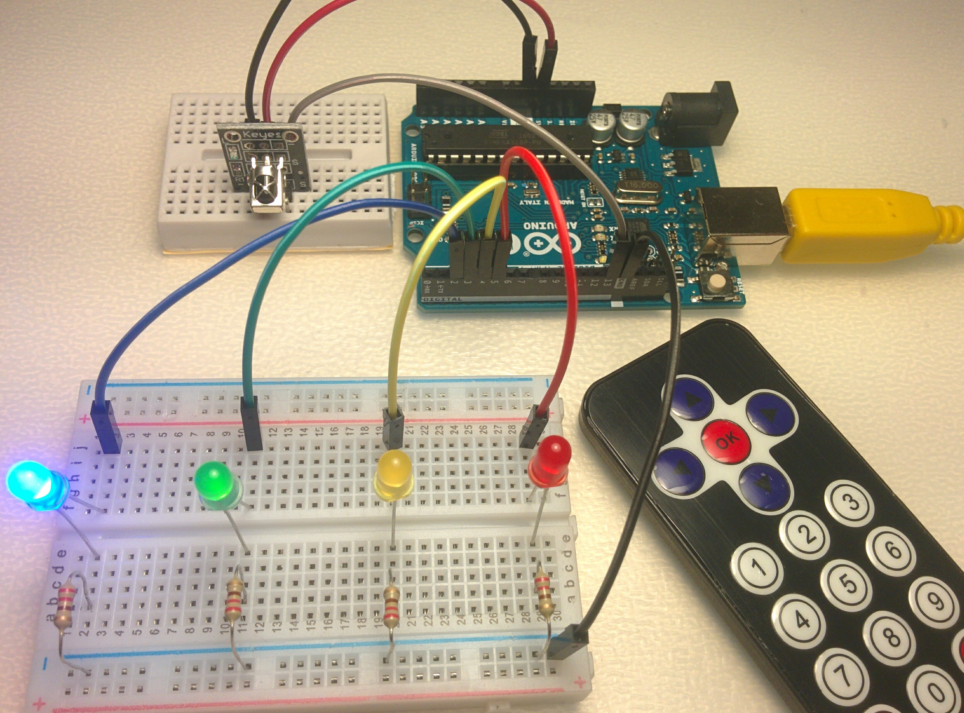 Picture of Control a Set of LEDs Using IR Remote