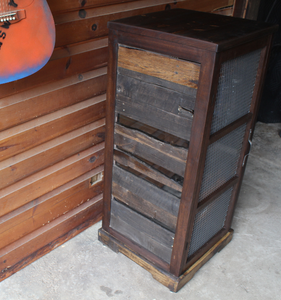 Pallet Wood and Walnut Whiskey Cabinet