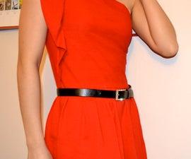 T-shirt reconstruction: DIY Ruffled one-shoulder dress