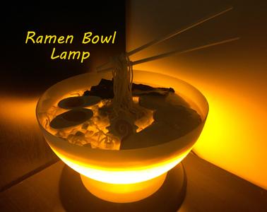 Ramen Bowl Lamp With Yellow LEDs