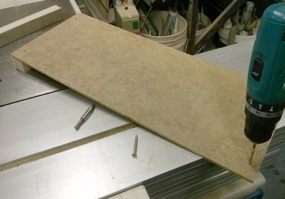 Picture of Drill Two Pilot Holes on the Second Sides of the MDF Boards.
