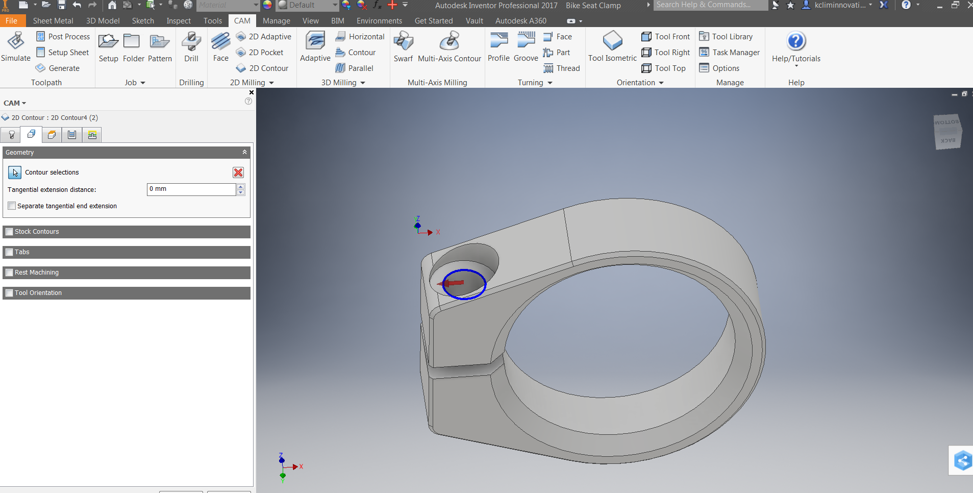 Picture of 2D Milling: 2D Contour and Through Hole