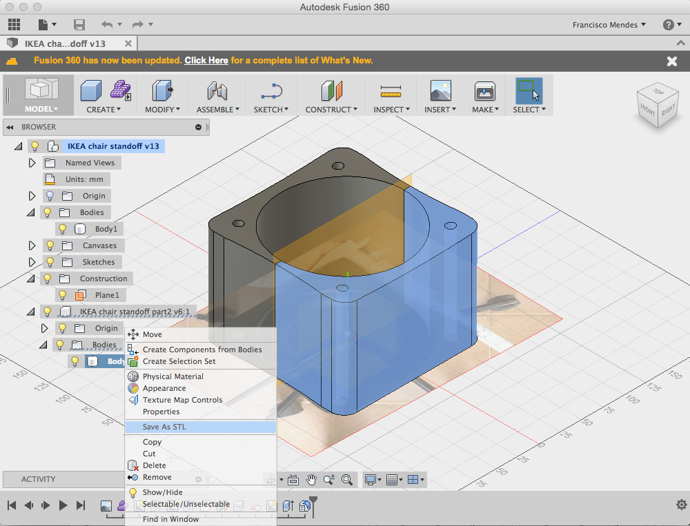 Picture of 3D Design: 7-Save Body As Stl File