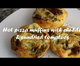 Hot Pizza Muffins With Cheddar & Sundried Tomatoes Recipe