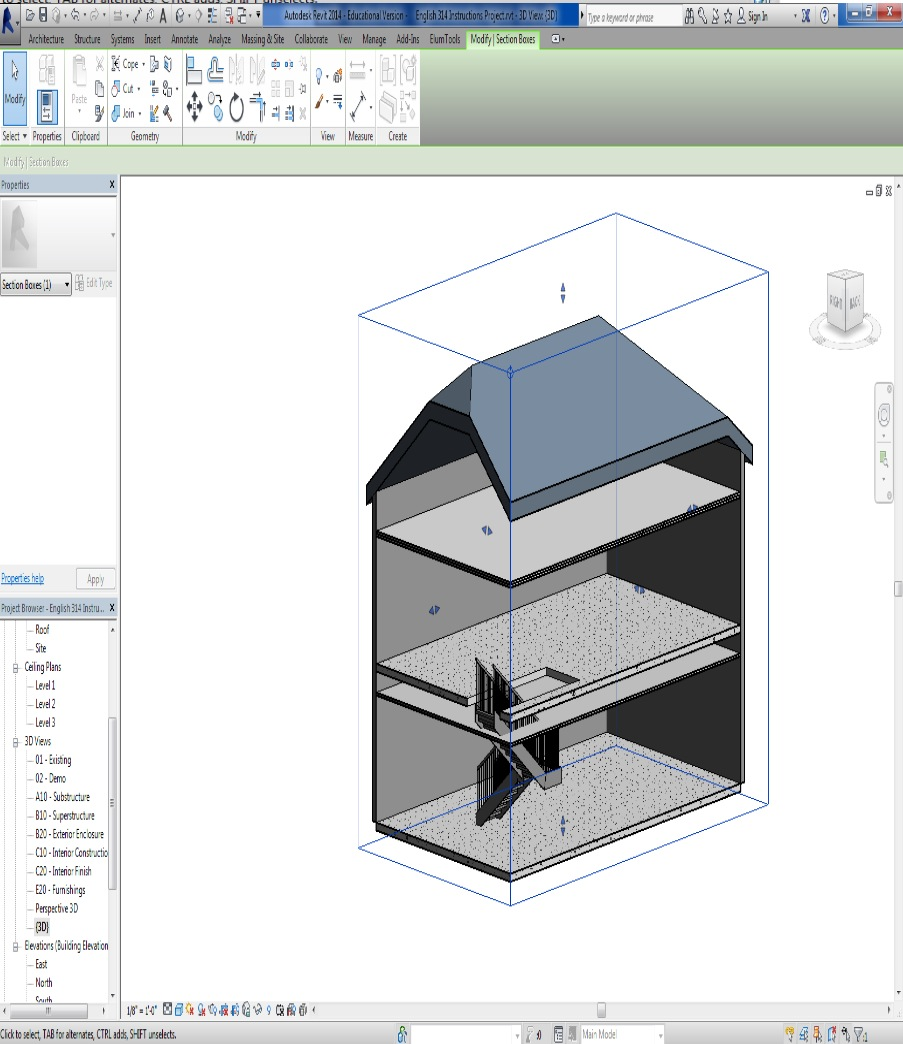 """Picture of Using the """"Section Box"""" Feature in 3D View"""
