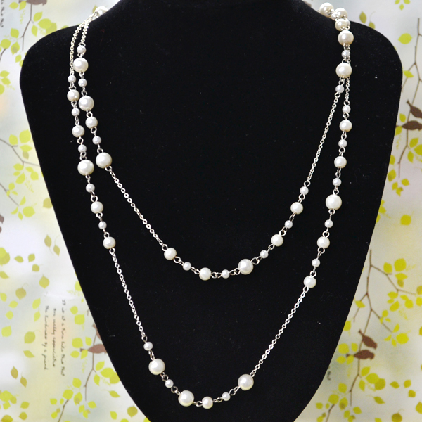 Picture of Latest Pearl Necklace Design - How to Make Long Layered Bead Necklace With Chain