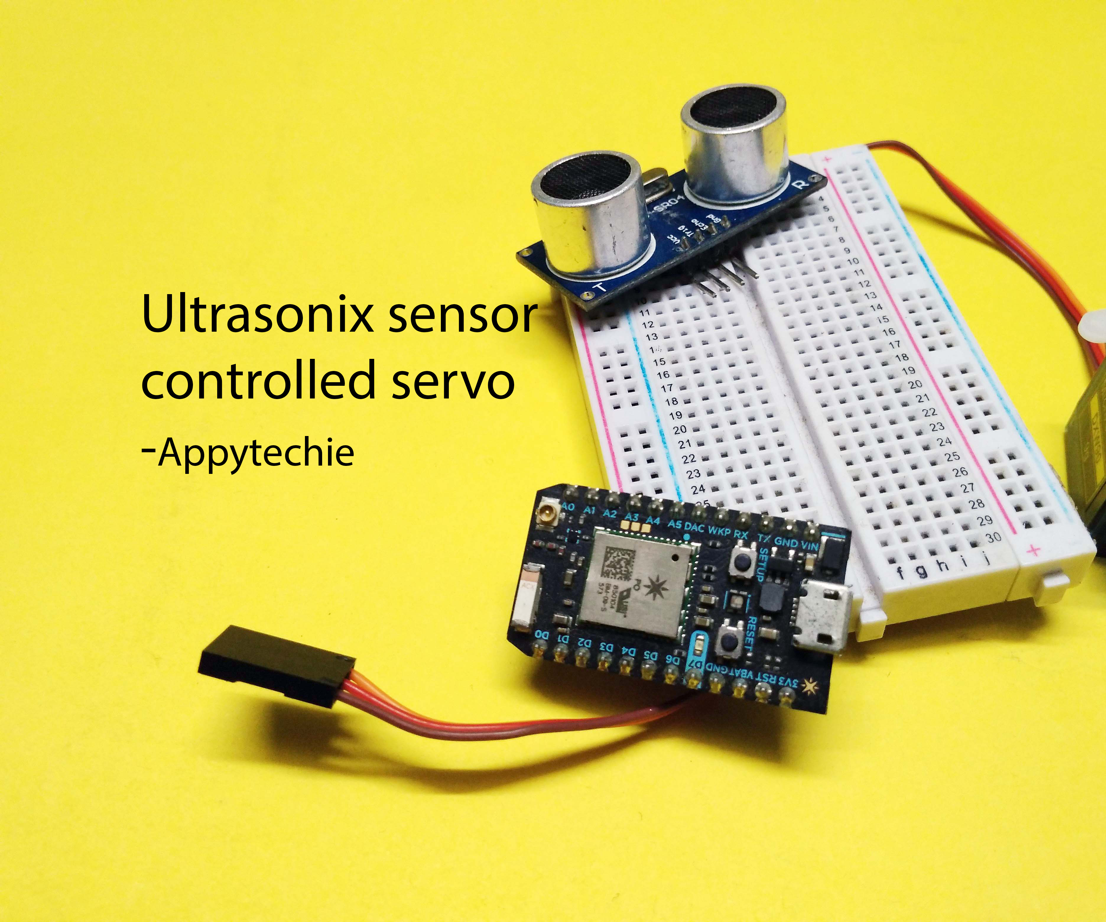 Picture of Interface Ultrasonic Sensor and Servo to Photon