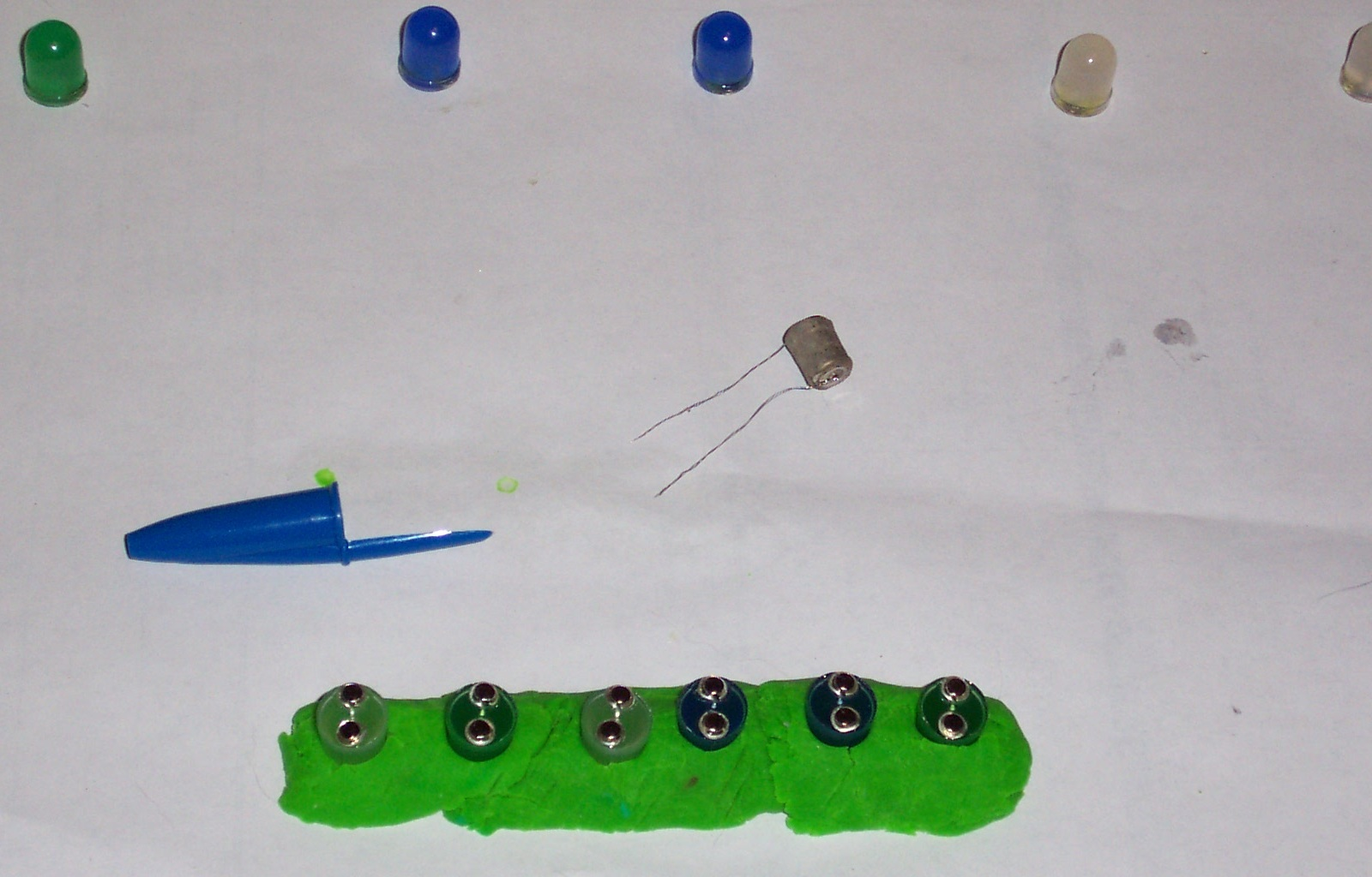 Picture of Assemble the 3.6 Volt LEDs (blue, White and Green)