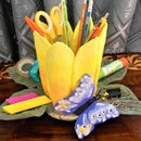 Flower Pen Stand With Butterfly From Concrete
