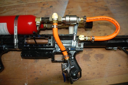 Attaching Blow Gun to Frame