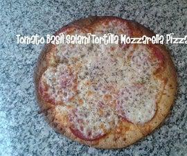 Tomato Basil Salami Tortilla Mozzarella Pizza Recipe