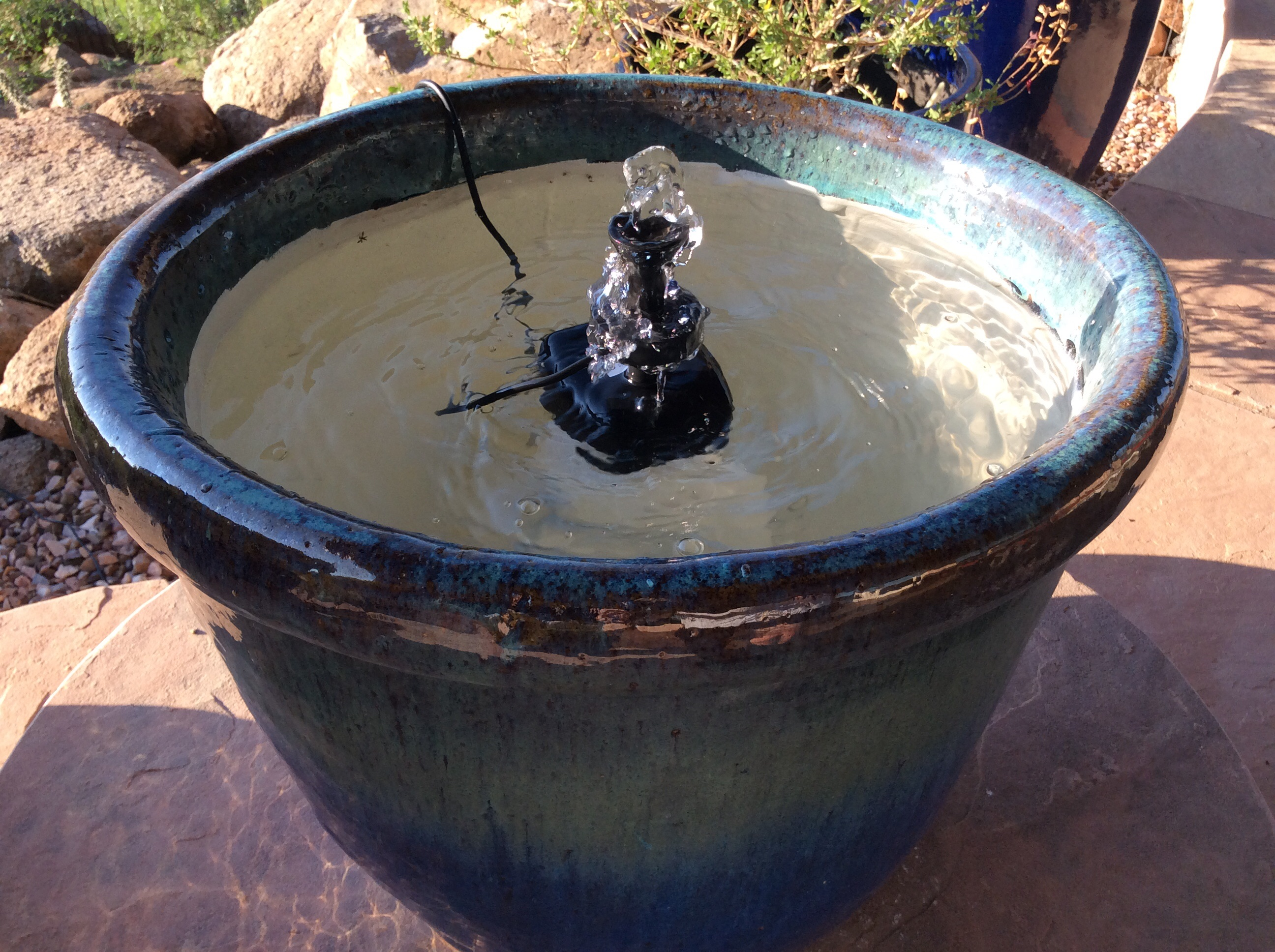 Picture of Repurpose Plant Pot Into Water Feature W/ Solar Fountain + Fish