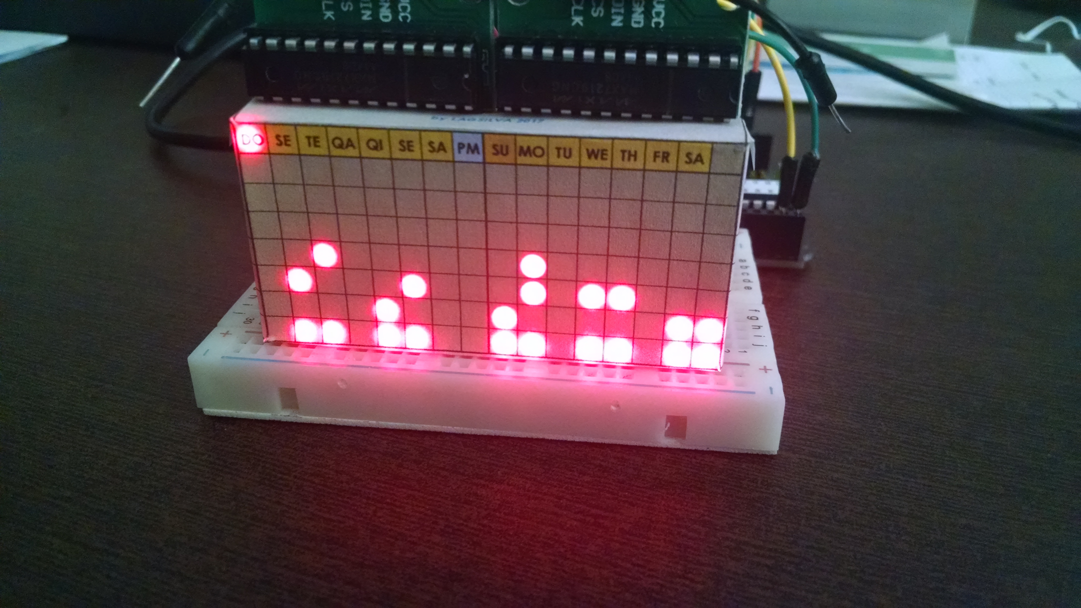 Picture of Digital and Binary Clock With Two LED Matrix and RTC