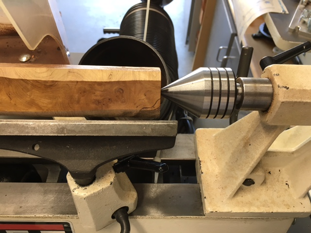 Picture of Marking the Centers, Tapping in the Spur Center and Mounting to the Lathe