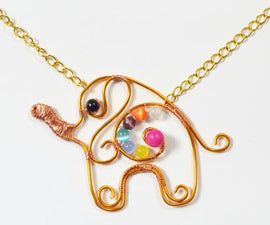 How to Make a Cute Gold Wire Wrapped Elephant Pendent Necklace