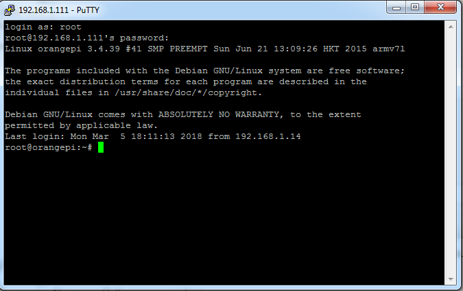 Picture of Access SSH Server by Using PUTTY