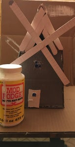 Attach the Window and Door to the Windmill and Then Mod Podge